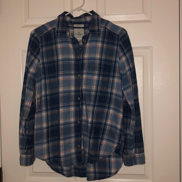 American Eagle Outfitters Tops - American Eagle boyfriend flannel blue small